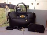2015 A/W Mulberry Bayswater Buckle Tote Bag in Black Small Grain Leather