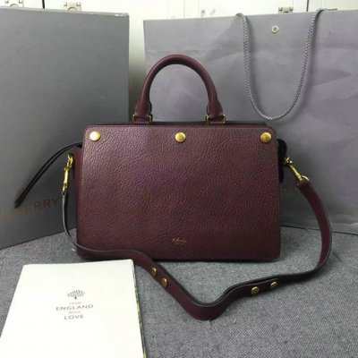 2016 Fall/Winter Mulberry Chester Tote Bag Burgundy Textured Goat Leather