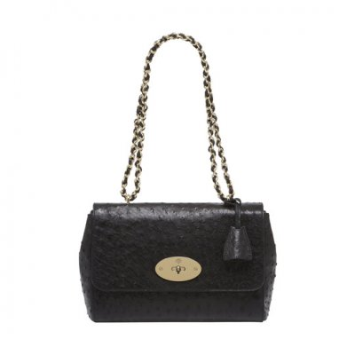 Mulberry Medium Lily Black Ostrich