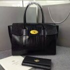 2016 Latest Mulberry New Bayswater Bag in Black Polished Embossed Croc Leather
