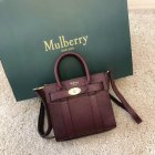 2018 Mulberry Micro Zipped Bayswater Bag in Oxblood Small Classic Grain