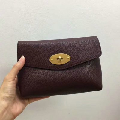 2018 Mulberry Darley Cosmetic Pouch in Oxblood Small Classic Grain