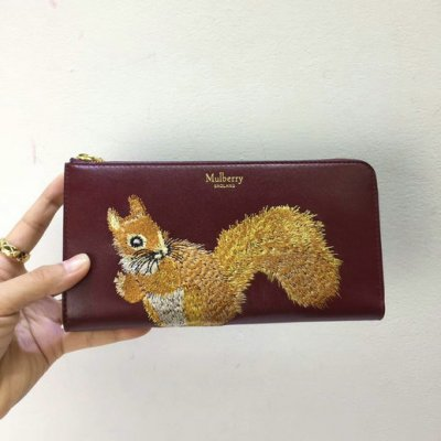 2017 Cheap Mulberry Squirrel Long Part Zip Wallet Oxblood Smooth Calf