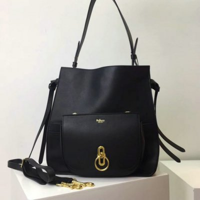 2017 Cheap Mulberry Amberley Hobo Black Silky Calf Leather