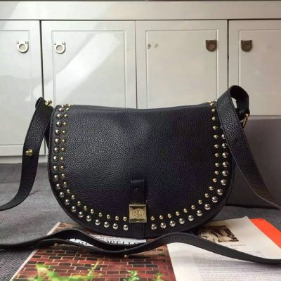 2015 Mulberry Tessie Satchel Bag Black with rivets details