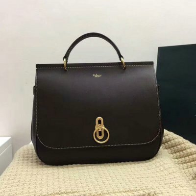 2017 Cheap Mulberry Large Amberley Satchel Chocolate Leather