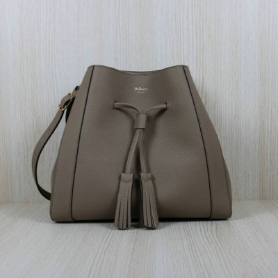 2019 Mulberry Small Millie Tote Solid Grey Heavy Grain Leather
