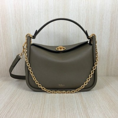 2018 Mulberry Small Leighton Bag in Solid Grey Classic Grain Leather