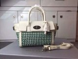 2015 Mulberry Mini Bayswater Buckle Bag Jungle Green & Cream Woven Leather & Flat Calf