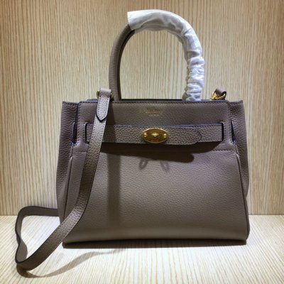 2020 Mulberry Small Belted Bayswater Bag Grey Heavy Grain Leather