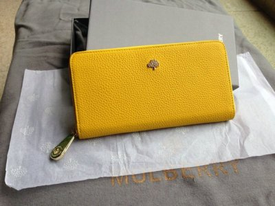 2014 Mulberry Tree Zip Around Wallet Golden Yellow Grainy Leather