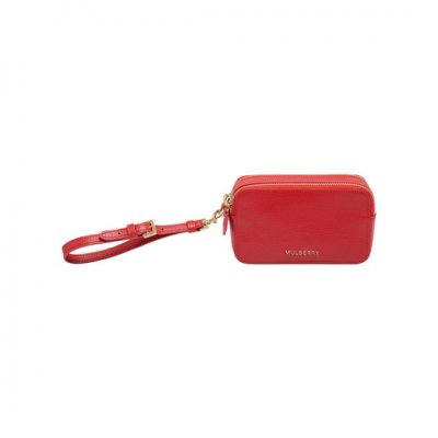 Mulberry Wristlet Pouch Bright Red Shiny Goat