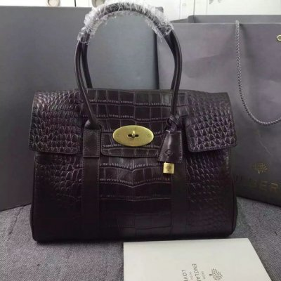 2015 Hottest Mulberry Bayswater Tote Bag Chocolate Croc Leather