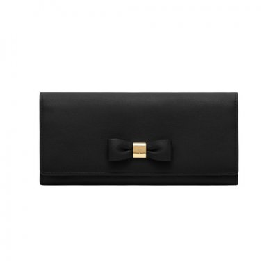 Mulberry Bow Continental Wallet Black Silky Classic Calf