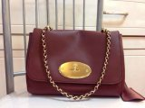 2014 Mulberry Lily Shoulder Bag in Burgundy Calf Leather