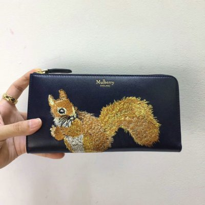 2017 Cheap Mulberry Squirrel Long Part Zip Wallet Midnight Smooth Calf