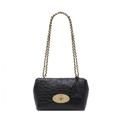 Mulberry Lily Black Ostrich With Soft Gold