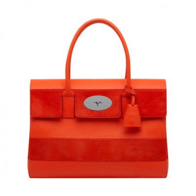 Mulberry Bayswater Fiery Red Silky Classic Calf And Haircalf Stripe