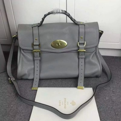 2015 New Mulberry Alexa Oversized Satchel Bag in Grey Leather