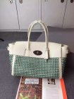 2015 Mulberry Bayswater Buckle Bag Jungle Green & Cream Woven Leather & Flat Calf