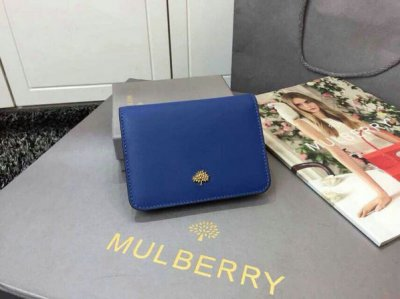 2015 Womens Mulberry Tree Slim Short Wallet in Sea Blue & Jungle Green Lamb Nappa