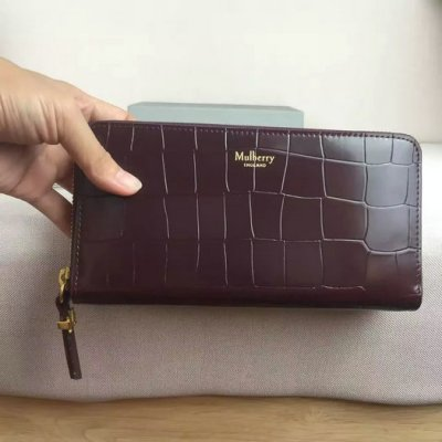 2016 Latest Mulberry Zip Around Wallet Oxblood Polished Embossed Croc