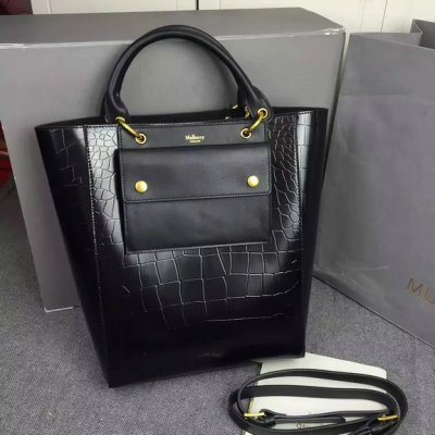 2016 Fall/Winter Mulberry Maple Tote Bag Black Polished Embossed Croc