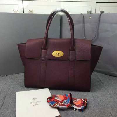 2016 Latest Mulberry New Bayswater Bag in Oxblood Natural Grain Leather