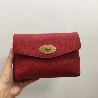 2018 Mulberry Darley Cosmetic Pouch in Red Small Classic Grain