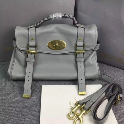 2015 New Mulberry Alexa Satchel Bag in Grey Leather