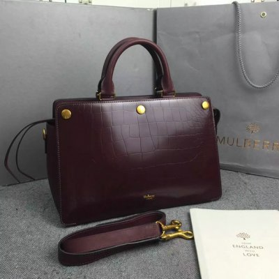 2016 Fall/Winter Mulberry Chester Tote Bag Burgundy Polished Croc Leather