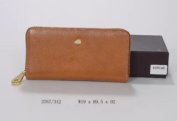 2014 Mulberry Tree Zip Around Wallet Oak Natural Leather