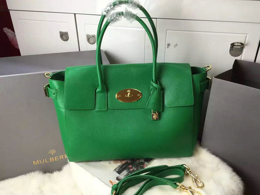 2015 A/W Mulberry Bayswater Buckle Tote Bag in Green Small Grain Leather