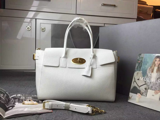 2015 A/W Mulberry Bayswater Buckle Tote Bag in White Small Grain Leather