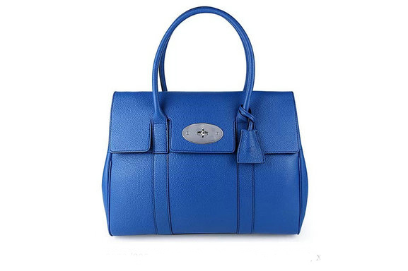 2015 Iconic Mulberry Bayswater Black Small Classic Grain with Sea Blue