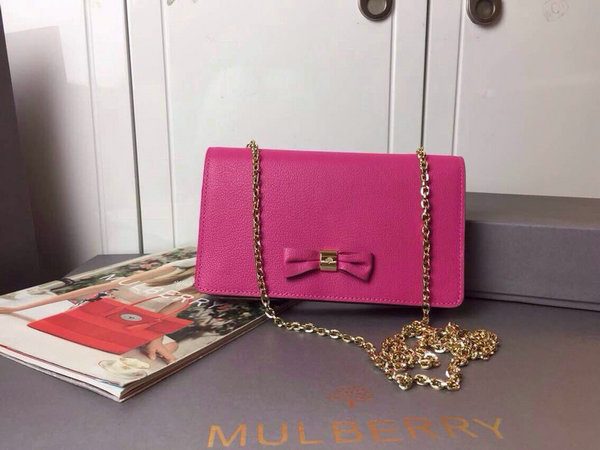 2015 Cheap Mulberry Bow Clutch Wallet Mulberry Pink Goat Leather