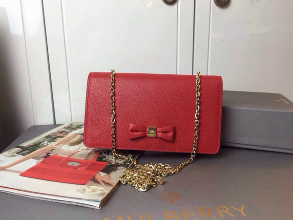 2015 Cheap Mulberry Bow Clutch Wallet Red Goat Leather