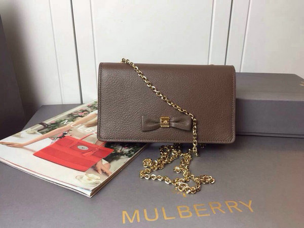 2015 Cheap Mulberry Bow Clutch Wallet Taupe Goat Leather