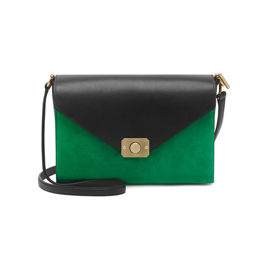 2015 Latest Mulberry Delphie Bag Jungle Green & Midnight Blue Heavy Suede With Black Flat Calf Leather
