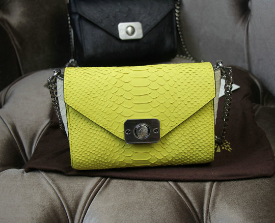 2015 Latest Mulberry Delphie Bag Camomile & Cream Silky Snake Leather