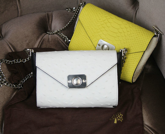 bba31bfa34ae 2015 Latest Mulberry Delphie Bag Cream   Black Ostrich Leather ...