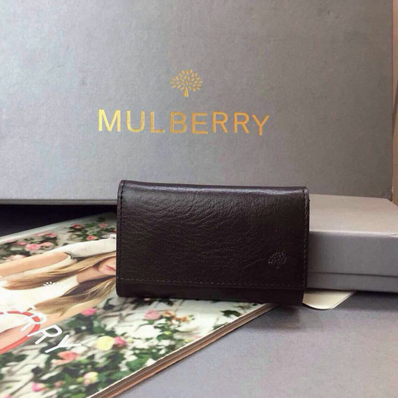 2015 Cheap Mulberry Leather Key Case in Chocolate
