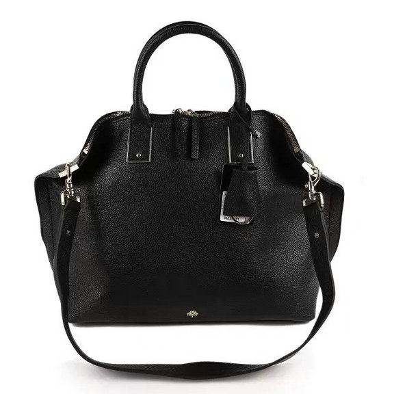 2015 Mulberry Large Alice Zipped Bag in Black Small Grain Leather