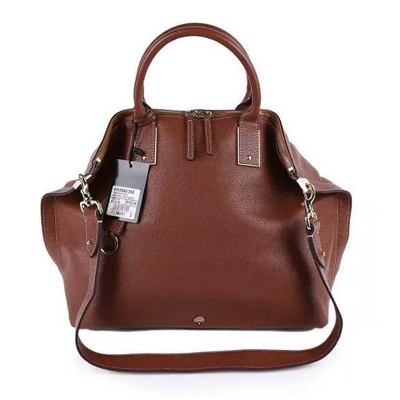 2015 Mulberry Large Alice Zipped Bag in Brown Small Grain Leather
