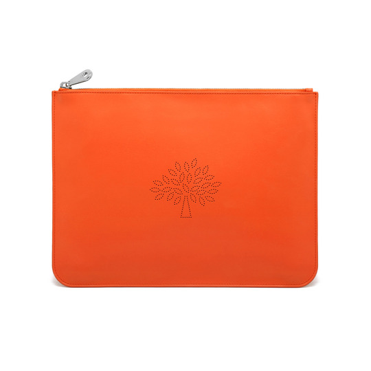 2015 S/S Mulberry Large Blossom Zip Pouch in Mandarin Calf Nappa Leather