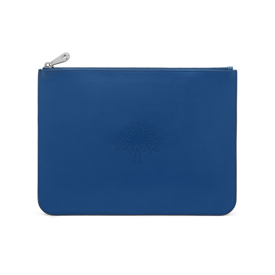 2015 S/S Mulberry Large Blossom Zip Pouch in Sea Blue Calf Nappa Leather