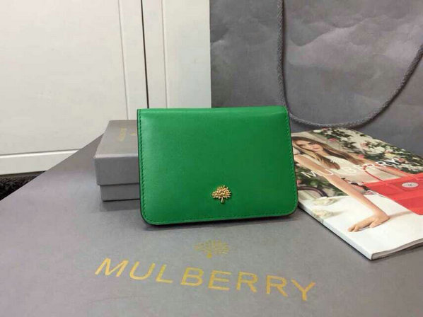 2015 Womens Mulberry Tree Slim Short Wallet in Jungle Green & Sea Blue Lamb Nappa