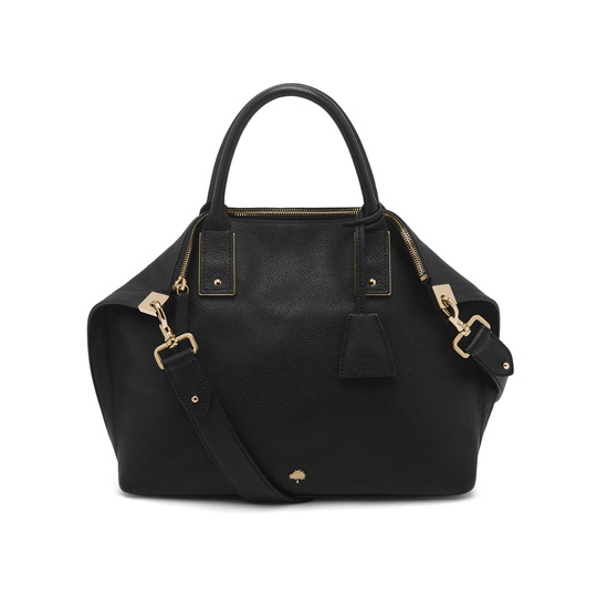 2015 New Mulberry Medium Alice Zipped Tote Bag in Black Small Grain Leather