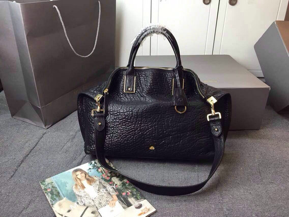 2015 New Mulberry Medium Alice Zipped Tote Bag in Black Shrunken Calf