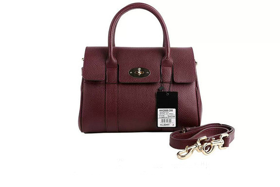 2015 Iconic Mulberry Small Bayswater Satchel in Oxblood Small Classic Grain Leather
